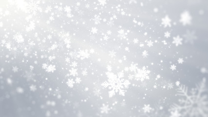 White bokeh, snowflakes and shiny lights on white background with Christmas theme.