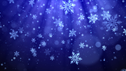 Christmas background (blue theme) with snowflakes, shiny lights and particles bokeh in stylish and elegant theme.
