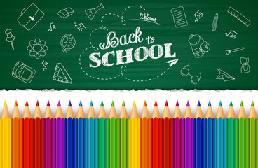 Welcome back to school background with hand drawn doodle elements and colorful pencils