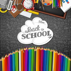 Welcome back to school with colored pencils and  school supplies