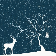 Greeting Christmas card with tree and deer