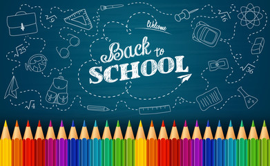 Welcome back to school background with doodle elements on chalkboard and colorful pencils