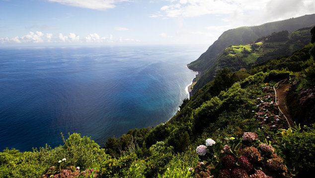A cliff of Sao Miguel, the main island of Azores