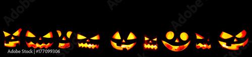 Halloween Pumpkins on black