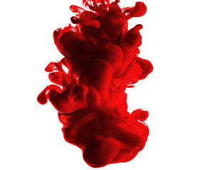 Red blood dropping in the water isolated in white background
