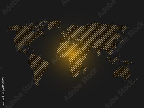 Striped world map orange led light futuristic design on dark striped world map orange led light futuristic design on dark background vector illustration sciox Image collections
