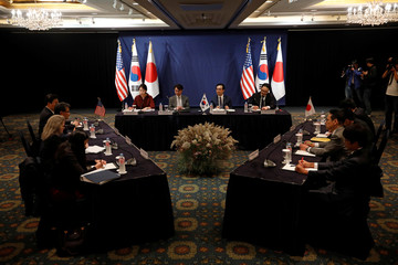 South Korean, Japanese and U.S. nuclear envoys talk during a trilateral meeting in Seoul
