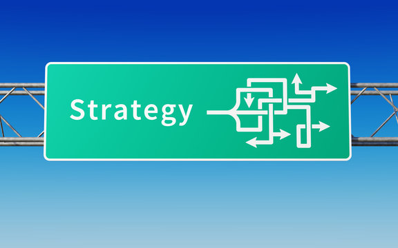 Road sign with multiple paths to strategy