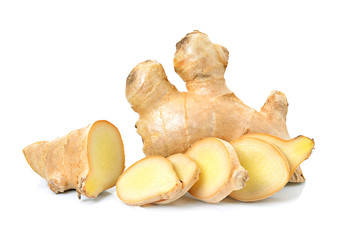ginger herb on white background