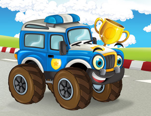 cartoon scene with happy smiling monster truck on the finish line illustration for the children