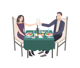 Pair of young man and woman dressed in formal clothes sitting at table decorated by tablecloth and candles and clinking champagne glasses. Couple at candlelight dinner. Cartoon vector illustration.
