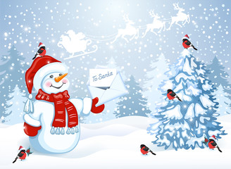 Christmas card with funny Snowman in Santa cap with Christmas letter for Santa Claus against winter forest background and Santa Claus in sleigh with reindeer team flying in the sky