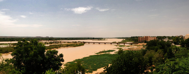 Wall Murals River Aerial view to Niger river and Niamey city , Niger