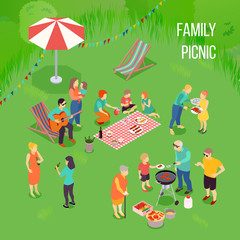 Family Picnic Isometric Illustration