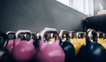 Close-up of Kettle Bells standing in Crossfit Gym
