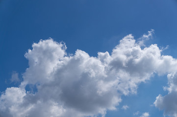 details of white clouds on blue sky, background of beautiful sky on sunny day
