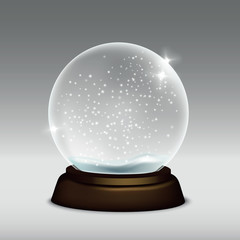 Vector realistic illustration of snow globe isolated on grey background