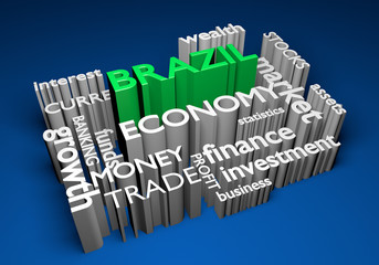 Brazil economy and trade investments for GDP growth, 3D rendering