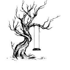 Handsketched illustration of old crooked tree with swing.