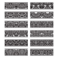 Floral patterned vintage elements for vector brushes creating. Borders templates kit for frames design and page decorations.