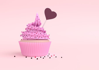 Cupcake with lollipop in the shape of a heart. 3D illustration