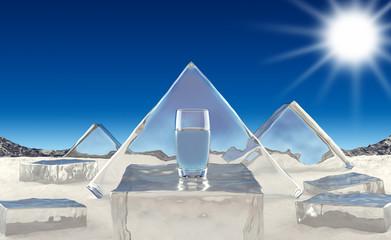 Glass of water on background winter landscape. 3D illustration