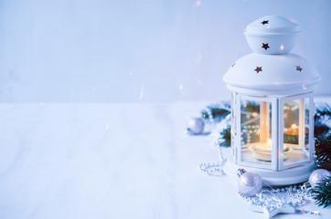 Christmas lantern. Magic lightning background.