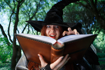 Image of sinister witch with book of spells