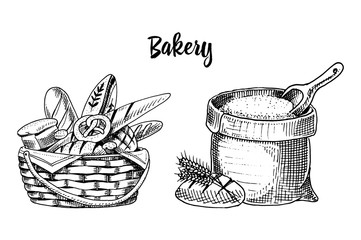 bread and long loaf and pastry. engraved hand drawn in old sketch and vintage style for label and menu. assortment of bakery shop. organic background. bag with flour or basket with food.