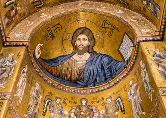 Detail of the mosaic inside Cathedral of Monreale near Palermo, Sicily, Italy