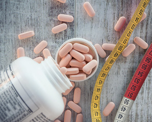 concept of the variety of medications for weight control and diet