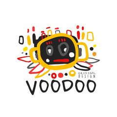 Voodoo African and American magic logo with abstract head