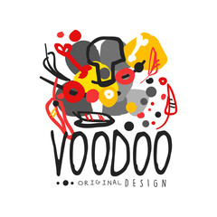 Voodoo African and American magic logo with abstract drawing