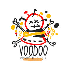Voodoo African and American magic logo head with needles