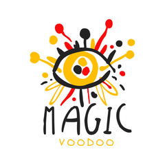 Voodoo African and American magic logo eye with needles