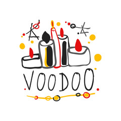 Voodoo African and American magic logo with candles and stars