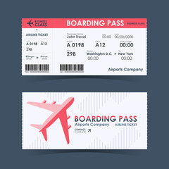 Boarding pass ticket red and white design element. vector illustration