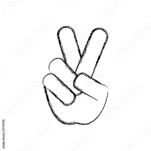 Hand With Peace Symbol Icon Over White Background Vector