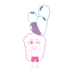 line girl with hairstyle and balloons in the hand