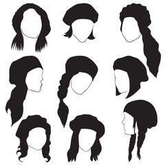set of silhouettes of female heads in berets