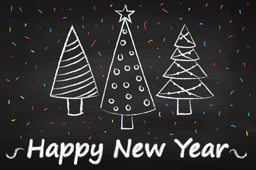 Merry Christmas and happy new year. Chalk board. The Christmas tree. Celebration. 2018. Postcard.