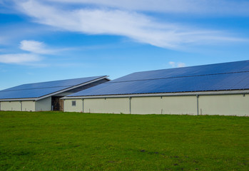 Solar panels or photovoltaic on modern farm buildings with blue sky and green grass, Schleswig-Holstein, Germany