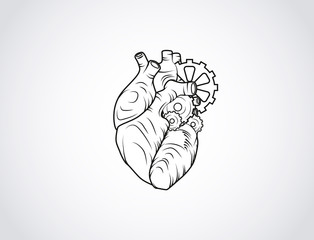 Human mechanical heart sketch. Anatomical heart illustration with wheels isolated. Enraved.