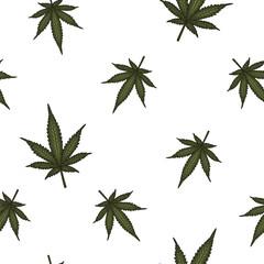 Marijuana leaves seamless vector pattern. Cannabis plant green background.