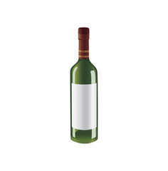 Green vector bottle of wine with space for brand.