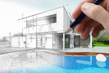 Dessin Du0027une Maison Du0027architecte Avec Plan Et Piscine
