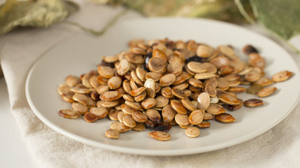 Closeup of fried pumpkin seeds.