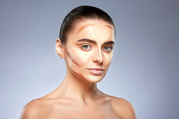 Face of woman with contouring