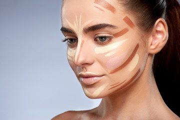 Half profile of girl with face contouring