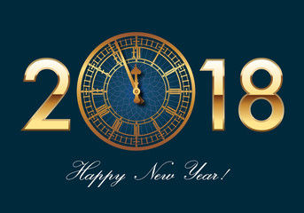 2018 - carte de vœux - Big Ben - Londres - horloge - chic - classique - raffiné - happy new year